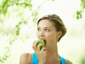 woman on apple